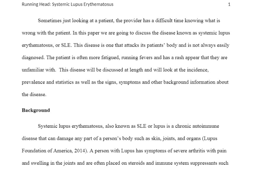 NR 503 Week 6 Assignment: Epidemiological Analysis: Chronic Health Problem – Lupus Disease