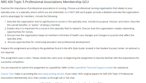 Assignment: NRS 430 Professional Associations