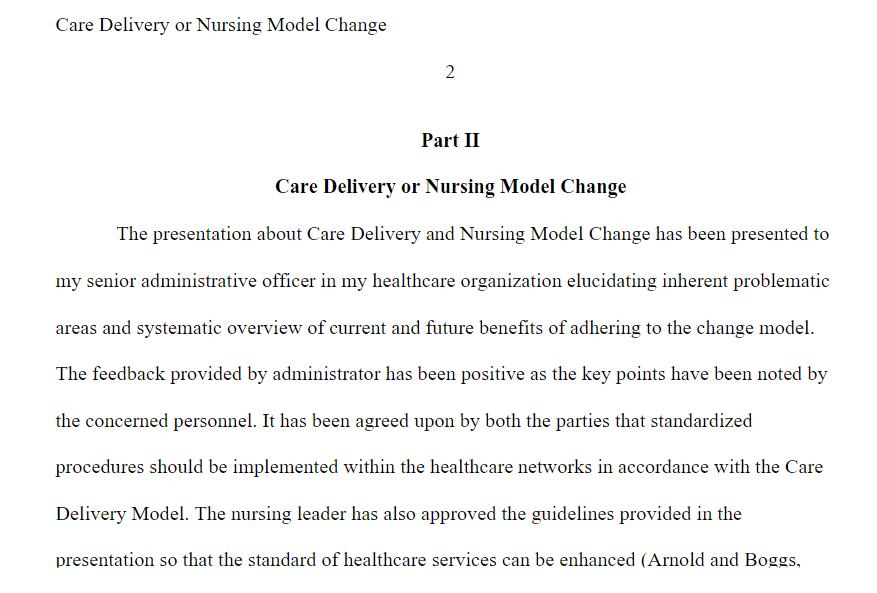 Discussion: DNP 840 Nursing Model Change