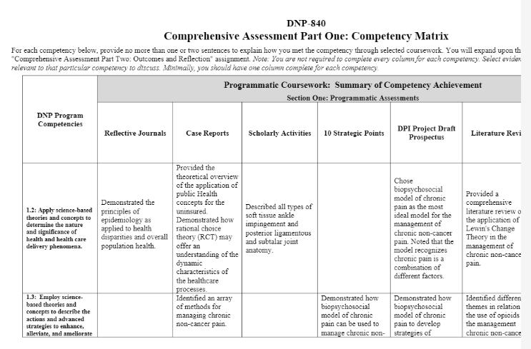 DNP 840 TOPIC 4 COMPREHENSIVE ASSESSMENT PART ONE: COMPETENCY MATRIX
