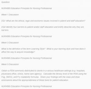 Discussion: NUR 4895 Nursing Education Basis