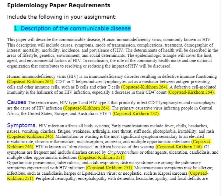NRS 427V Week 2 Assignment Benchmark Assignment: Epidemiology Paper