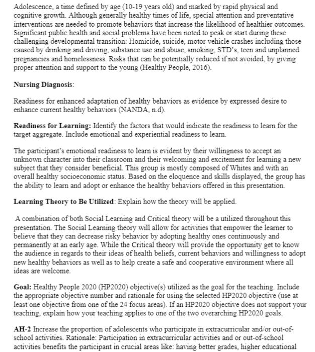 NRS 427V Week 5 Assignment 2 Community Teaching Plan: Community Teaching Work Plan Proposal