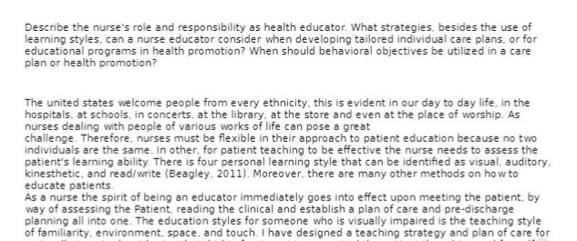 NRS 429 Discussion Nurse Role & Responsibility