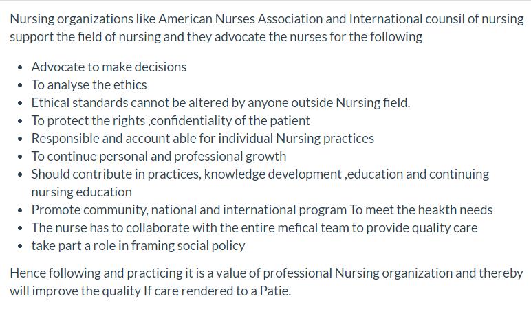NRS 430 Discussion Nursing Organizations