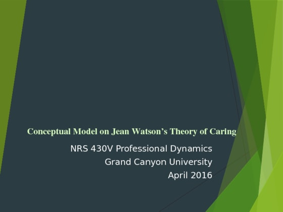 NRS 430V Week 3 CLC Nursing Conceptual Model Presentation – Jean Watson's Theory Of Caring