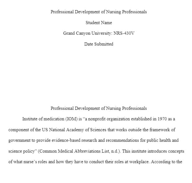 NRS 430V Week 4 Assignment Professional Development of Nursing Professionals